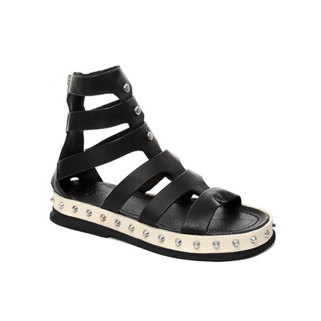 SİYAH Kadın Sandalet 627006-201 AS 98 SANDALI DONNA LADIES LEATHER  NERO+NERO+OSSO