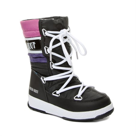 SİYAH Kız Çocuk Kar Botu 34051500-003 MOON BOOT WE QUILTED JR WP BLACK - PURPLE-ORCHIDE